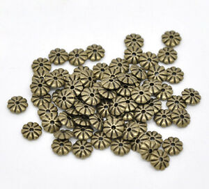 100-Bronze-Tone-HOTSELL-Flower-Spacer-Beads-Findings-7x2mm