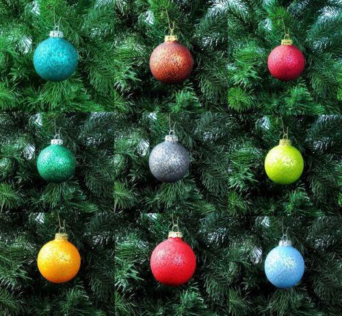 Thüringer Glas Strukturlack 12 Christbaumkugeln 6cm Weihnachtskugeln Kugeln