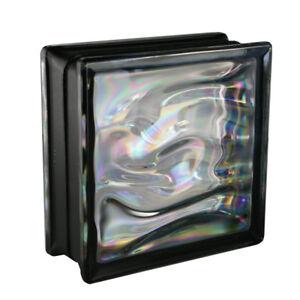 6-Stueck-Glasbausteine-AQUA-Reflex-Perlmutt-Schwarz-19x19x8cm