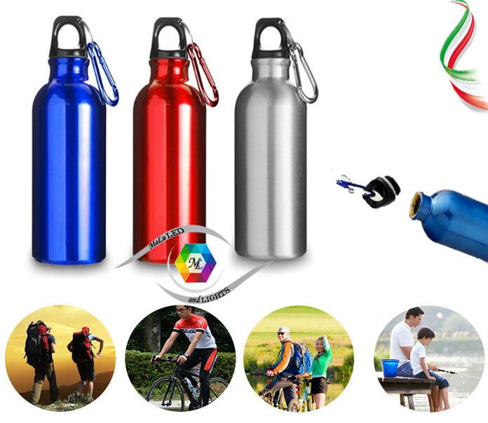 Borraccia vacanze in alluminio 600ml moschettone bottiglia bici sport trekking vacanze Borraccia 044aff
