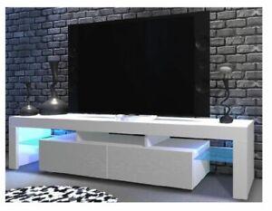 Details Zu Tv Schrank Tv Tisch Lowboard Fernsehtisch 200 Cm Weiss Hochglanz Fronten Led Glas