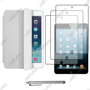 Housse-Etui-PU-Cuir-Coque-Transparent-Blanc-Apple-iPad-Mini-Stylet-3-Films