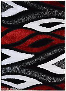 Red Grey Black White Flame Shags Shag Area Rugs Shaggy Rug 3x5 3x7