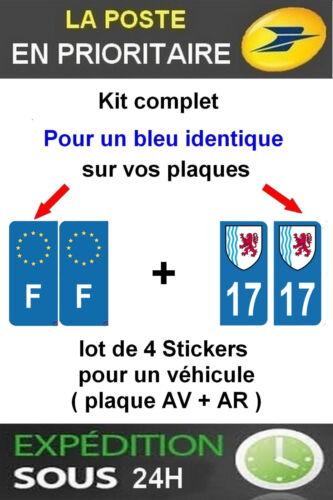 F PLAQUE IMMATRICULATION BLASON 17 NOUVELLE AQUITAINE 4 STICKERS LOGO REGION
