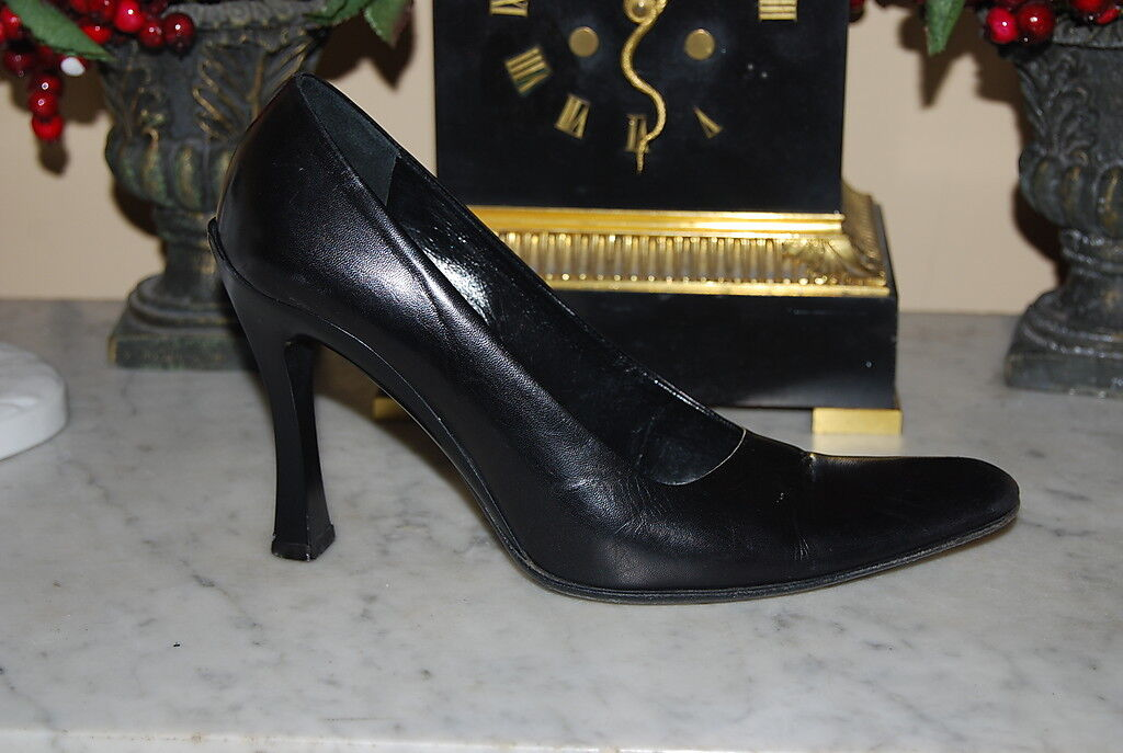 PRADA ITALY schwarz LEATHER HIGH HEEL damen POINTY TOE damen HEEL PUMP schuhe Größe 36 1 2 95f8cd