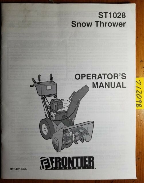 Frontier ST1028 Snow Thrower Operator S Manual