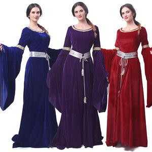 Women Medieval Renaissance Dress Velvet Celtic Queen Gown Larp Halloween Costume