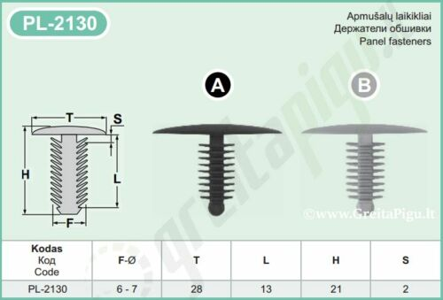 28 mm Kopf Tanne Verkleidung Clips 6-7 mm Loch Innenraum Schwarz Grau