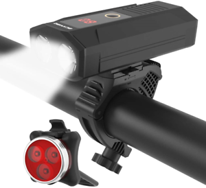 USB Rechargeable Bike Light Set Super Bright 1200 Lumen Wide Angle View Bicycle