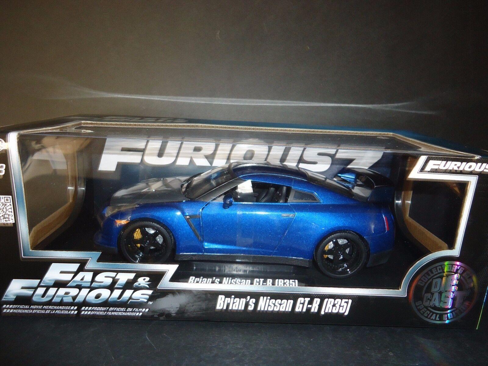 Jada Nissan Gt-r R35 Brian's coche rápido Y Furioso 7 1 18