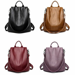 Soft Leather Tote Casual Backpack Anti Theft Ladies Daypack Stylish ...