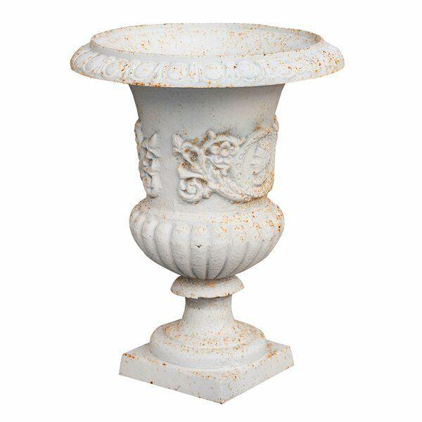 Vaso in fusione di ghisa finitura blancoo anticata Diam.37XH46,5 cm