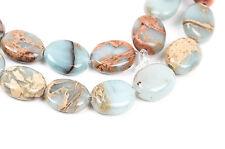 AQUA TERRA JASPER 10x8mm Flat Oval Gemstone Beads, full strand gja0021