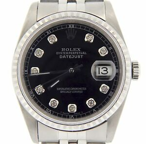 Rolex-Datejust-Mens-Stainless-Steel-Jubilee-Band-Black-Diamond-Dial-Watch-16220