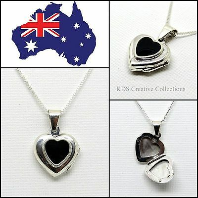 925 Sterling Silver Black Onyx Heart Pendant Locket with 16 Inch Box Chain