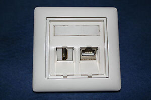 netzwerk dose mit und tv hdmi keystone modul im gira standard 55 rahmen ebay. Black Bedroom Furniture Sets. Home Design Ideas