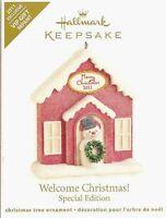 Welcome Christmas 2011 Hallmark Ornament Merry Christmas Red House Snowman Snow