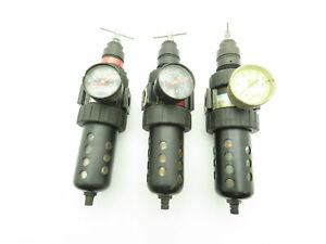 "Speedaire 4Z029A Pneumatic Filter & Regulator 150PSI 1/2""NPT T-Bar Adj LOT OF 3"