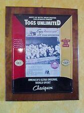 plaque  magasin-support publicitaire chevignon-togs unlimited-américa's sport