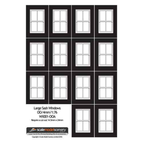 LARGE WHITE SASH WINDOWS FOR OO GAUGE 1:76 SCALE MODEL RAILWAY WX001-OOA