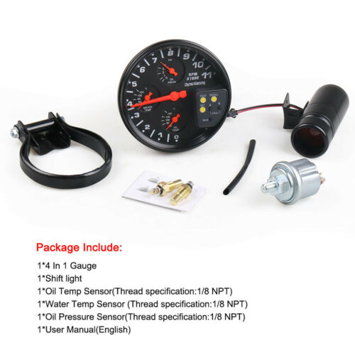 "5/"" Tachometer RPM Gauge Oil Pressure Water Temp Oil Temp Meter With Shift Light"