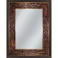 Bathroom Vanity Mirror Bronze Copper Frame Fused Glass Replica Floral Accents