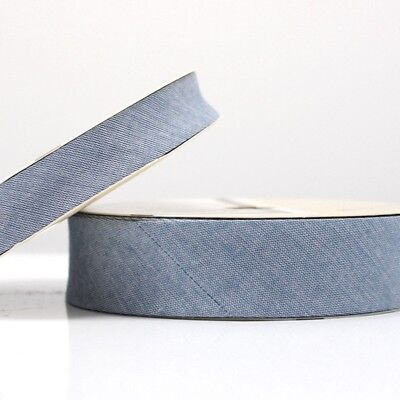 Higgs /& Higgs Cotton Fabric Trim Edging Medium Blue 18 Chambray Denim Bias Binding 30mm