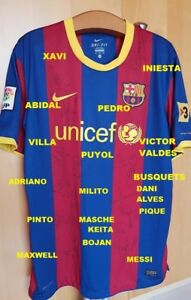 Image is loading BARCELONA-SIGNED-AUTOGRAPH-SHIRT-JERSEY-MESSI-PUYOL-XAVI- a2cd25697