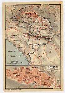 Agrigento Italy Map.1911 Original Antique City Map Of Agrigento Girgenti Sicily