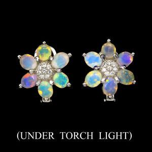 Unheated-Oval-Fire-Opal-Full-Flash-5x4mm-Cz-925-Sterling-Silver-Earrings