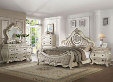 DUMONT-5pcs Euro Traditional White Queen Upholstery Panel Bedroom Set Furniture