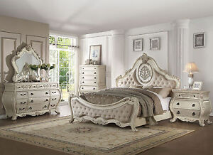 Details about Old World Design Antique White Bedroom Furniture - 5 piece  Set w/ Queen Bed IAA0