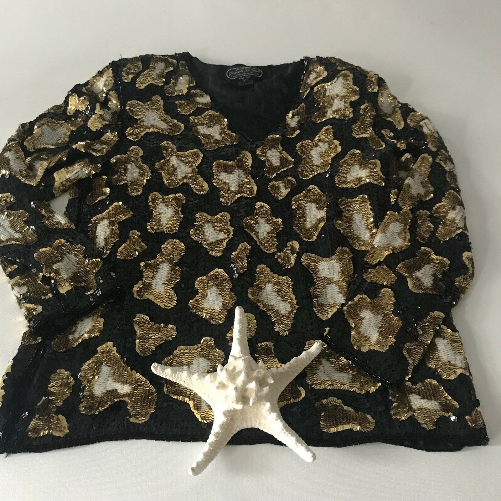 Jean Joseph LeBonVintage damen Blouse Sequin Leopard Large Silk Holiday Festive
