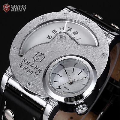 Shark Army Men's Oversized Dual Time Zone Leather Quartz Sport Army Wrist Watch