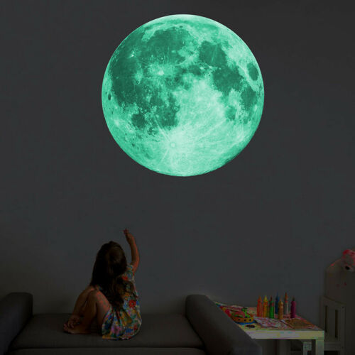 30cm Luminous Moon 3D Wall Sticker for Kids Room Living Bedroom Decoration Home