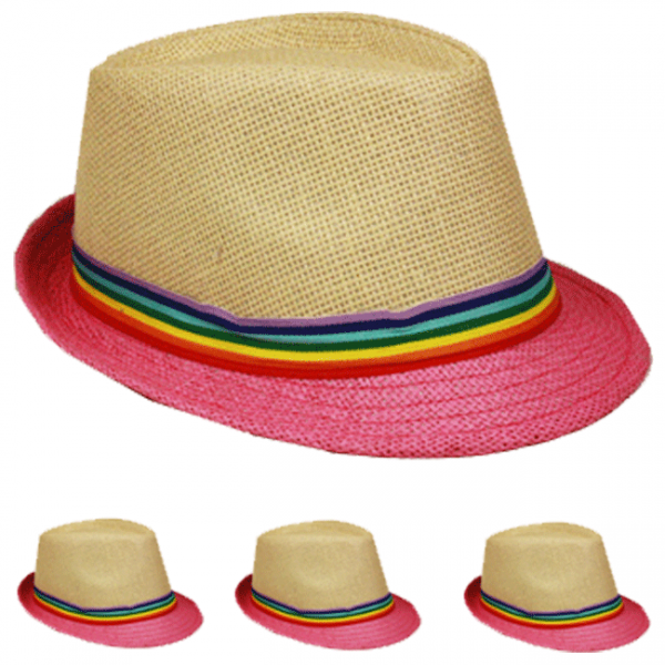 Fedora Hat RAINBOW Formal Cap PINK WOMEN MEN Wedding Dress Formal RAINBOW  WINTER VALENTINES 75d1e9
