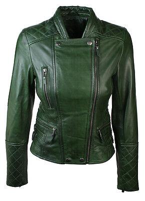 Ladies Women Genuine Real Leather Slim Fit Quilted diamante Green Biker Jacket