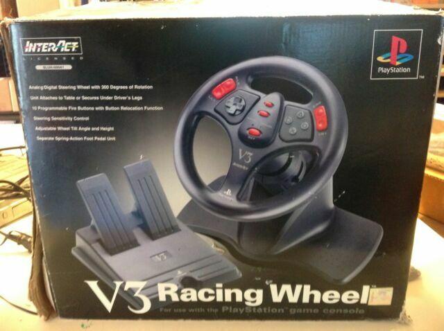 Vintage PlayStation V3 Interact GasBrake Pedals and Steering Wheel,