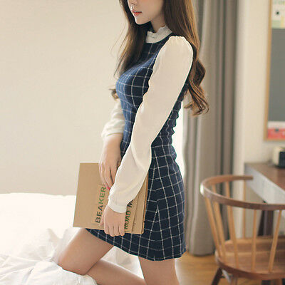 New Autumn Spring Korean Womens O-Neck Chiffon Bubble Sleeve Grid Mini Dress