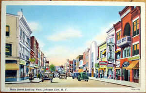 1940-Linen-Postcard-Main-Street-West-Hamlin-Drugs-Johnson-City-New-York-NY