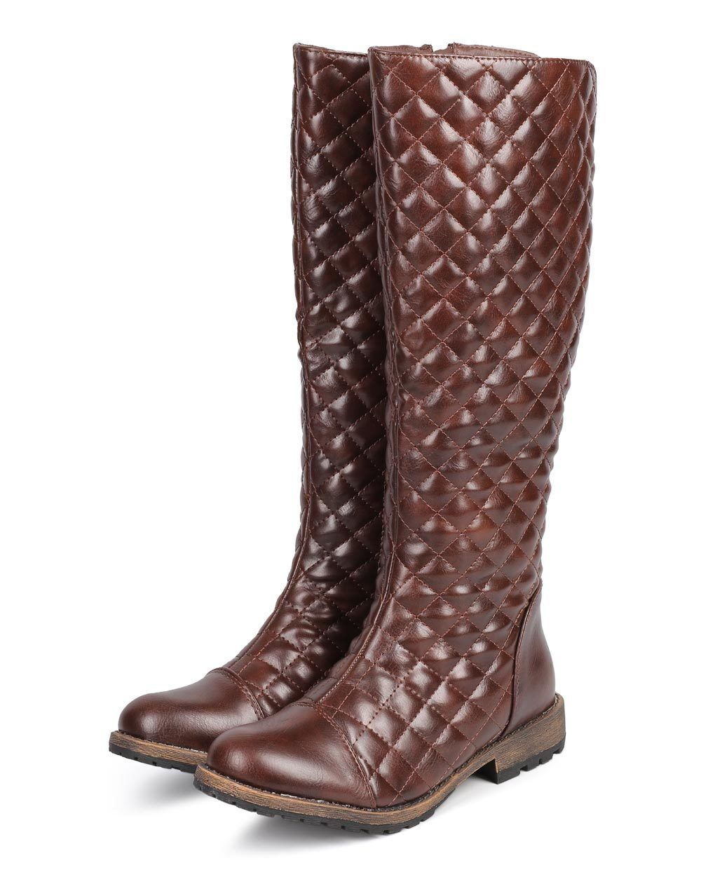 New Women Nature Breeze Kimo-01 Quilted Cap Toe Buckle Knee High Riding Boot