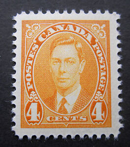 CANADA #234 POST OFFICE FRESH SUPERB MINT NH 1937 4 CENT KING GEORGE VI CAT $6