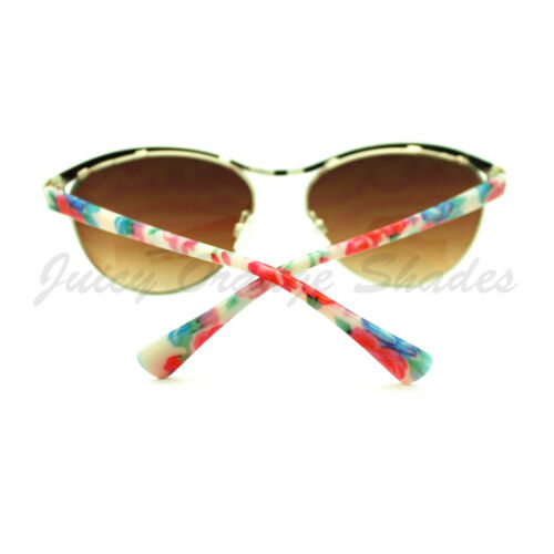 Cute Flower Print Oval Shape Sunglasses Womens Fashion Eyewear