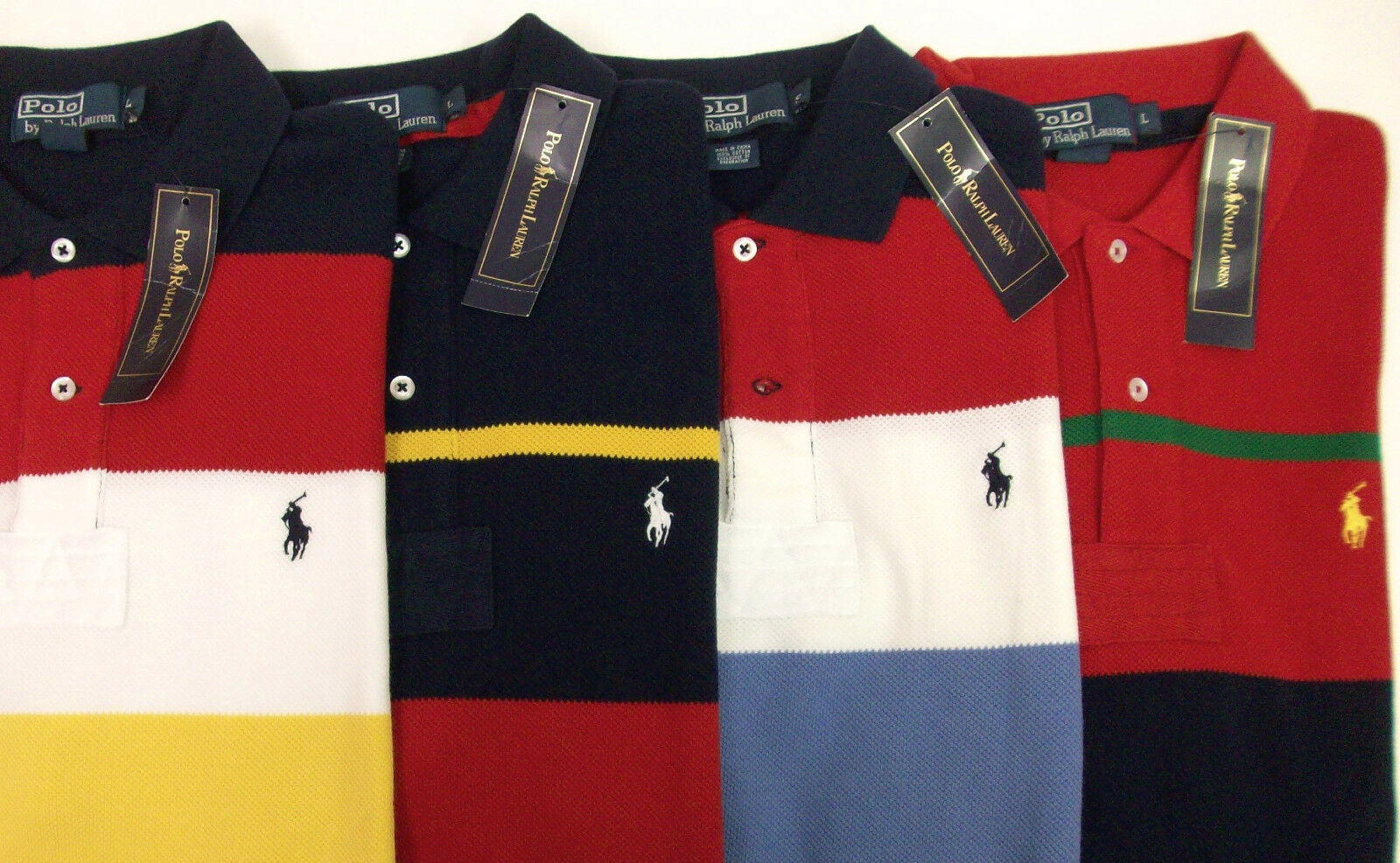 Polo Ralph Lauren Knit Cotton Mesh SS Striped Rugby Shirt   Pony Red bluee NWT
