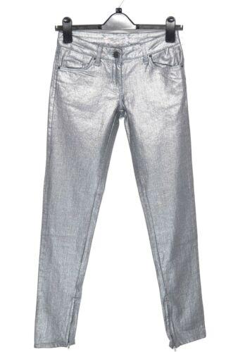 Jeans Attillati Taglia 6 Vestibilità Aderente Argento Metallizzato le cerniere sulla caviglia R W25