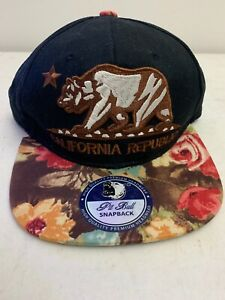 CALI-Baseball-Hat-California-Republic-Cap-Bear-Embroidered-Pitt-Bull-Snapback