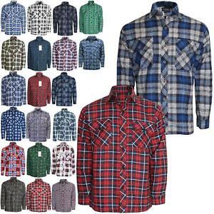 Mens-Premium-Quality-Flannel-Lumberjack-Brushed-Fleece-Check-Cotton-Work-Shirt