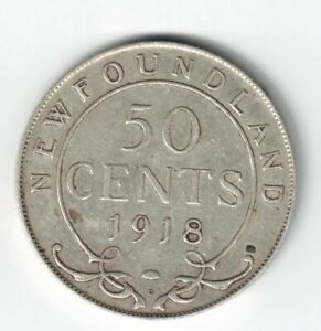 NEWFOUNDLAND-1918C-50-CENTS-KING-GEORGE-V-CANADIAN-STERLING-SILVER-COIN