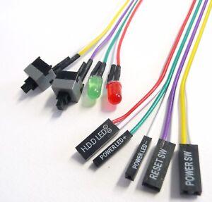 reset power on taster kabel f r pc computer geh use led. Black Bedroom Furniture Sets. Home Design Ideas