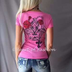 Women/'s Cold Shoulder Cutout Fleur-de-lis Wing Stone Embellished Biker Top Shirt